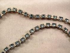Blue Rhinestone Choker Necklace Vintage by YesterdaysPleasures, $12.00