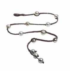 """- Tahitian Pearls - Premium Leather Cord - 22"""" Length - Can be worn as a Bracelet or Necklace - P099   RePinned by : www.powercouplelife.com"""