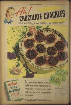 Chocolate Crackles Chocolate Flavors, Vintage Ads, Crisp, Bubbles, Pizza, Cooking, Food, Kitchen, Eten