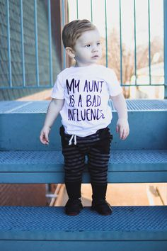 My Aunt is a bad influence matching auntie kids - October 19 2019 at Hipster Kids Clothes, Trendy Baby Boy Clothes, Baby Boy Outfits, Nephew And Aunt, New Aunt, Family Shirts, Kids Shirts, Niece Tattoo, Aunt Baby Clothes