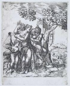 Pan, Pomona en Amor, Monogrammist IHS, Giulio Bonasone, Giulio Romano, 1561