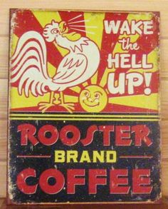 Rooster/'s Roadhouse Cafe ad TIN SIGN metal wall decor kitchen rustic chicken OHW