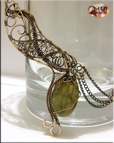 Chaos wire wrapped necklace big labradorite by MeaJewelry on Etsy, £48.00