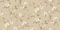 Lavender Dream (322310) - Eijffinger Wallpapers - A beautiful floral trail with dragon flies in a hand painted effect. Showing in pink/white flower heads on a metallic gilver background. Please request a sample for true colour match.
