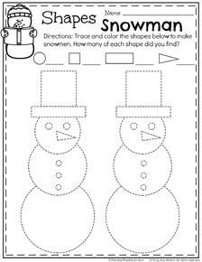 Preschool Shapes Worksheet - Winter Snowman trace and count. Kindergarten Math Worksheets, Toddler Preschool, Preschool Activities, Preschool Shapes, Preschool Projects, Preschool Printables, Kids Crafts, Preschool Christmas, Preschool Winter