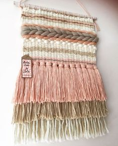 Excellent Cost-Free weaving techniques diy Tips Wool and cotton weaving in beige, white and pink. Ideal for a girls room. Custom made by Lola (foll Weaving Loom Diy, Weaving Art, Tapestry Weaving, Hand Weaving, Weaving Wall Hanging, Wall Hangings, Weaving Textiles, Weaving Projects, Weaving Techniques