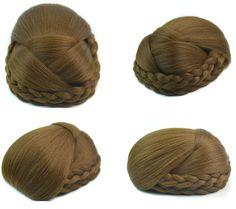 Q48  Hair buns synthetic hair color of 6P hair piece bun