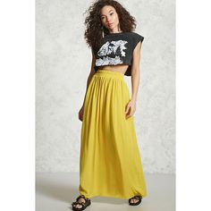 Forever21 Contemporary Maxi Skirt ($20) ❤ liked on Polyvore featuring skirts, yellow, long yellow skirt, ruched skirt, shirred skirts, gathered skirt and yellow maxi skirt