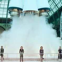 It's the last day of a fashion week world tour that started back in New York a month ago (remember that?) This morning Karl Lagerfeld made sure to end the season on a high  a stratospheric one. With a @chanelofficial set that included a giant rocket that took over a week to build models marched out in a collection that was like Astro girl couture: spaceman hoodies silver bags that looked like they'd been vacuum packed and tweed dresses with necklines perfect for balancing your space helmet…