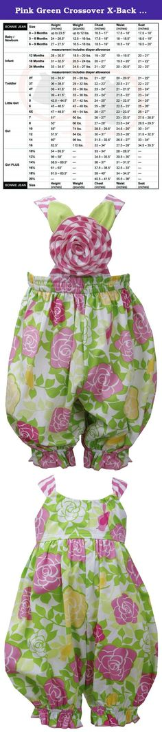 Pink Green Crossover X-Back Rose Floral Print Romper PK0CH, Pink, Bonnie Jean Baby-Newborn 3M-9M, BB-CH, Sleeveless-Jumpsuit. Beautiful baby-newborn girl pink/green rose floral print romper with rosette applique at the crossover X-back. Machine wash. Imported (Sri Lanka). Of 100% cotton; Linine of polyester/cotton; Exclusive of trim/decoration. Matching/Coordinating sister styles available in sizes 3M-6X, reference style BNJ-22644M.