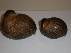 Beautiful Vintage Pottery Bird Figurines-Pair Large and Smaller