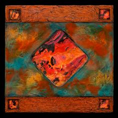 """Earth and Fire Blue/ Petite Square""  Fiber Wall Art  Created by Kara Young"