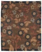 """""""Chelsea Garden Deepwood"""", contemporary floral with border, 100% wool hand-knotted area rug - K Powers & Co"""