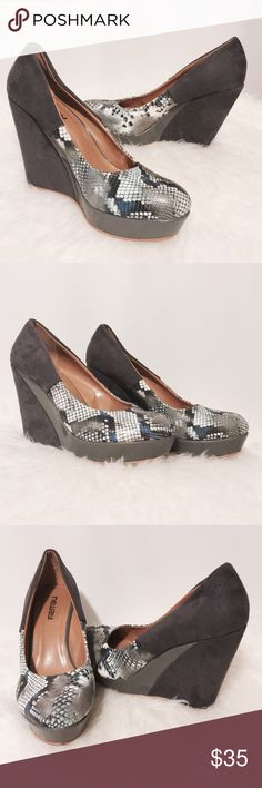 "⭐️ Suede & Animal Print Platform Wedge Striking platforms! Cute and comfortable platform wedges. Charcoal gray suede heels, patent leather platforms, snake print in grays with navy highlights. All man made materials. 1 1/4"" platform 5"" heels Worn a handful of times EUC Neway Shoes Platforms"