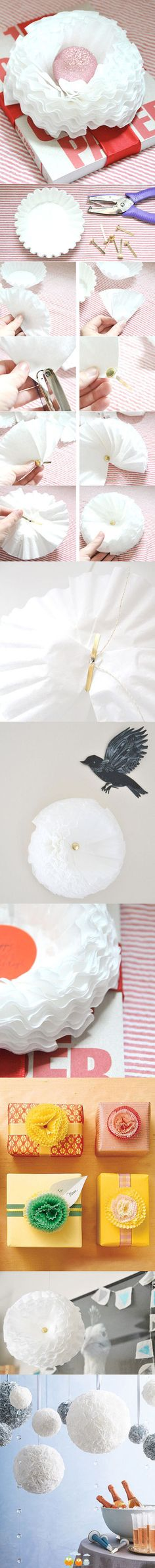 cute gift wrap idea - coffee filter flower