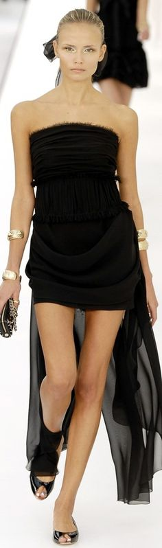 Chanel black dress women fashion outfit clothing style apparel @roressclothes closet ideas