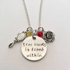 True Beauty Is Found Within Beauty and the Beast Belle Disney Princess Inspired Hand Stamped Charm Necklace #beautyandthebeast #belle #beast #princeadam #disney #princessinspired #handstamped #charmnecklace