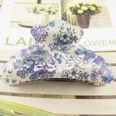 Korean purple + blue pattern acrylic hairpin