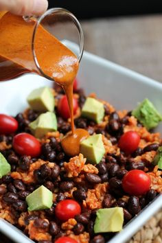 Rice, Black Bean and Avocado Bowl with Fat-Free Sweet Chili Mustard Sauce - The Vegan 8