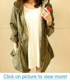 Worldeal Womens Hoodie Drawstring Army Green Military Trench Parka Jacket Coat Jumper #Worldeal #Womens #Hoodie #Drawstring #Army #Green #Military #Trench #Parka #Jacket #Coat #Jumper