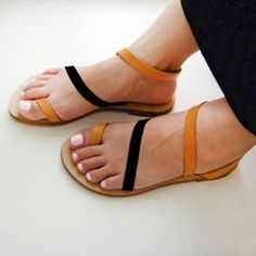 Shoespie Orange and Black Strappy Flat Sandals