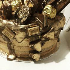 Drip cake , chocolate, gold