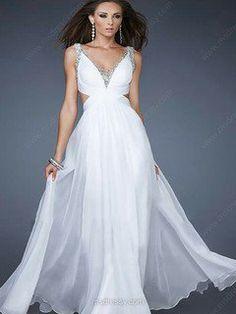 Sheath/Column Straps Chiffon Floor-length Beading Prom Dresses -USD$139.79