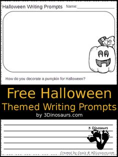 Free Halloween Themed Writing Prompts - 8 pages of writing prompts - 3Dinosaurs.com