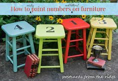 Postcards from the Ridge: How to easily paint numbers or letters on furniture