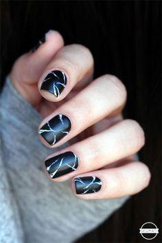 Black Marble Nails Art