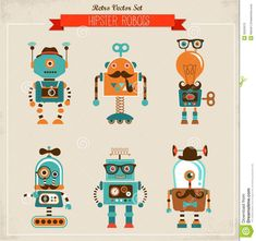 Set Of Vintage Hipster Robot Icons Stock Photography - Image: 33525072