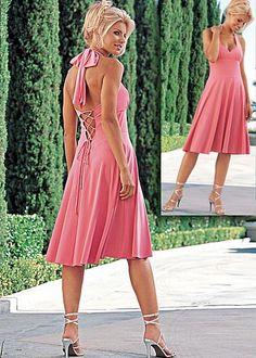Venus Lace-up Halter Dress color - watermelon $36