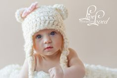 PDF CROCHET PATTERN 004 - Bear Earflap Hat - Multiple sizes from newborn through age 4. $4.95, via Etsy.