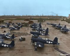 Colourising History - American Corsair and Grumman Hellcat Aircraft undergoe final checks before dispatch to US Forces in the Pacific during World War Two. Location and year unknown. Navy Aircraft, Ww2 Aircraft, Fighter Aircraft, Military Aircraft, Fighter Jets, Aircraft Photos, F4u Corsair, Old Planes, World War Two
