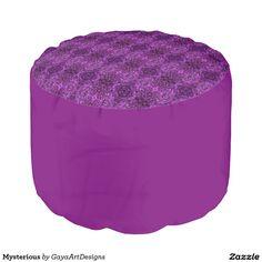 Mysterious Round Pouf  #signature #unique #art #designs #exclusive #original #artistic #creation #accessories #designer #collection #home #decor #purple #round #pouf #zazzle
