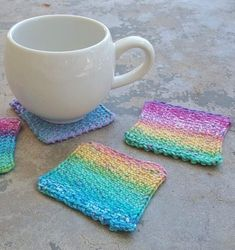 Free Knitting Pattern for Linen Stitch Coasters - great for scrap yarn. Designed by Deborah West
