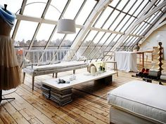 Romantic White Loft With Huge Windows In Sweden. The sort of place I'd love to spend a holiday in but would hate to live in. Interior Exterior, Home Interior, Interior Ideas, Design Interior, Studio Interior, Interior Modern, Beautiful Space, Beautiful Homes, House Beautiful