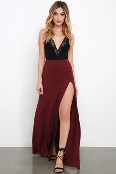 Maracas and Cabasas Maxi Skirt With Slit in black, maroon, navy, or olive at Lulus.com $38
