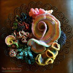 Hyperbolic & freeform crochet in wire bowl
