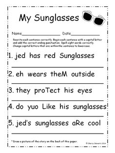 Fix It Up Sentences (June) - Students write each sentence correctly by capitalizing the first letter in the sentence, changing capital letters within the sentence to lowercase, adding correct ending punctuation, and spelling sight words correctly! Kindergarten Reading Activities, Teaching Activities, Reading Resources, Teaching Tools, Teaching Posters, Educational Activities, Teaching Ideas, First Grade Lessons, Letter Recognition