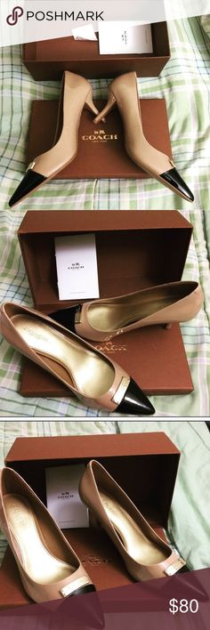COACH Leather Pumps (NIB) Brand New in box COACH kitten pumps in warm blush/ black cap toe color. Gold Coach nameplate hardware on top. Classy and chic! Also comes with the Coach hardware care booklet. Box included. 2.5 inches tall.Size EU 37.5/ US 7.5.  Patent leather. Purchased at Saks. Willing to negotiate reasonable offers. 😀 Coach Shoes Heels