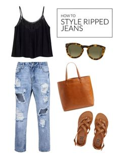 Wondering what to do with that old pair of ripped jeans sitting lonely in your drawer? By carefully selecting pieces to pair with them, you'll be trend setting and chic! The trick is to use a mix of neutral tones, such as brown and black, and limiting the accessories to some sleek tortoise shell sunglasses. The result is a care-free style that still feels put together. Wear a loose-fitting black embroidered top and brown leather sandals. Head to eBay to learn how to style ripped jeans.