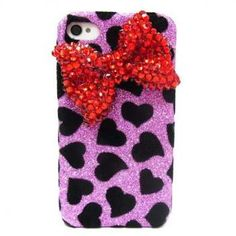 Bling Velvet iphone 4 Case, Red Bow iphone 4G Case,Crystal iphone 4S Case, Purple iphone 4 Case Cover, Black Heart Bow iphone 4 Case A1