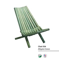 Chair X36 - Alligator Green The Chair X36 is practical, fun, durable, eco friendly and 100% made in the USA! This beautiful chair arrives fully assembled at your home and folds for easy storage. This portable version of a lounge chair is very comfortable and great for soaking up the sun or enjoying fireworks! Conceptualized by the Brazilian designer Ignacio Santos, the Chair X36 is crafted from Eco Friendly Premium Yellow Pine wood, stainless steel hardware and built to last for years.