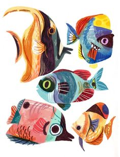 Art And Illustration, Character Illustration, Animal Drawings, Art Drawings, Guache, Fish Art, Creature Design, Photomontage, Animal Design