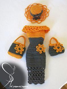 "Ravelry: Barbie ""Giselle"" dress pattern by Simona Pusinanti - Puppenkleidung - Crochet Barbie Et Ken, Free Barbie, Barbie Mode, Barbie Dolls, Doll Toys, Crochet Doll Dress, Crochet Barbie Clothes, Knitted Dolls, Dress Sewing"