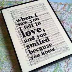 Love Quote Typographic Framed Art Print on Framed Vintage Sheet Music Wedding Gift