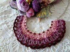 Crocheted Tribal Necklace 2 crochet and bead necklace by sewella