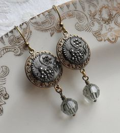 Pewter Petals Antique Glass Button Earrings by TimelessTrinkets, $28.00