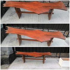 Rustic wood benches Natural walnut color finished